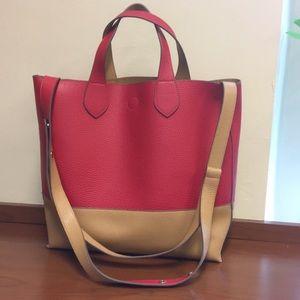 Reversible color block purse w/snaps